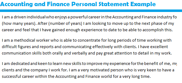 Accounting and finance personal statement