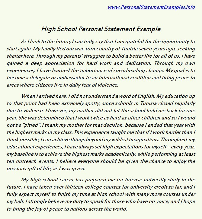High School Sample Essay