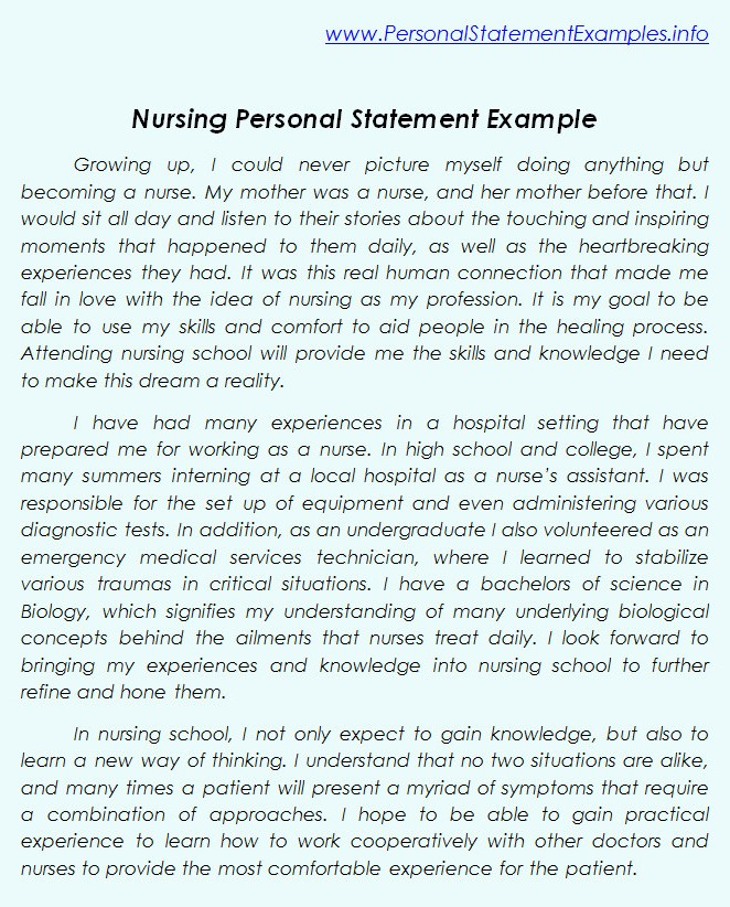 Personal statement for nursing