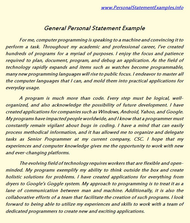 general personal statement examples for you by personalstatement