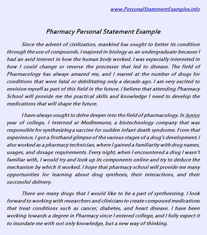 Useful Pharmacy Personal Statement Example by personalstatement on ...