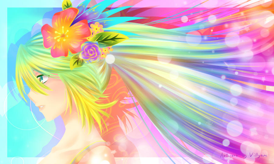 Rainbow Miku by Villyane