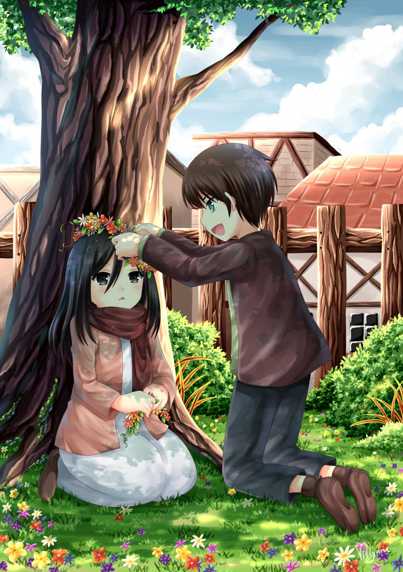 lil Mikasa and Eren by Villyane