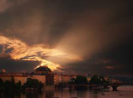 Prague under light siege by VaggelisFragiadakis