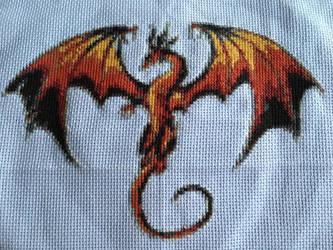 Dragon Motif Cross Stitch by velvet-curse