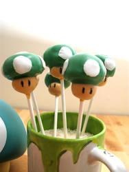 1UP Mushroom Cake Pops by Lovesmut