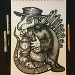 plague doctor rat angel with syringe wings