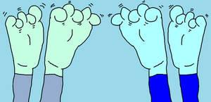 Wallflower and Raindow Dash's Feet in the Air