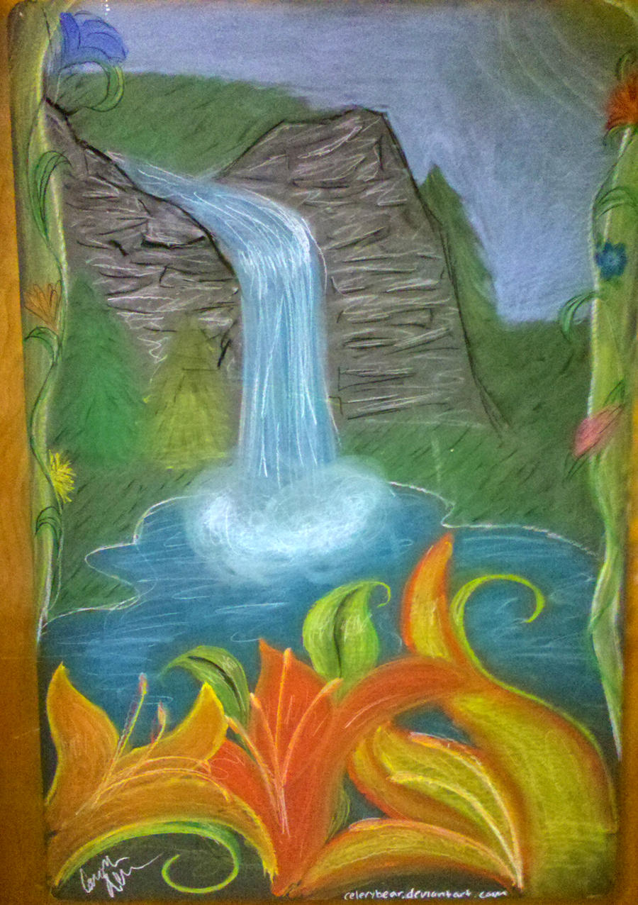 Waterfall chalk drawing by celerybear on deviantart for Simple paintings to draw