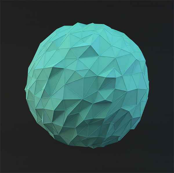 Teal Low Poly Sphere by error-23