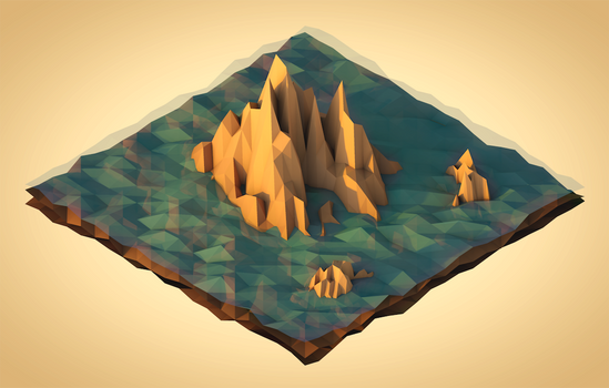Sea Mountains (Low Poly Isometric)