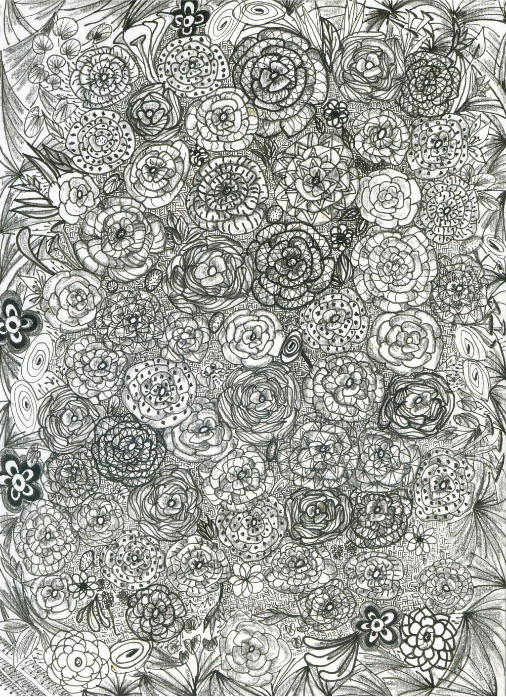 zentangle flowers by flybye669 on DeviantArt