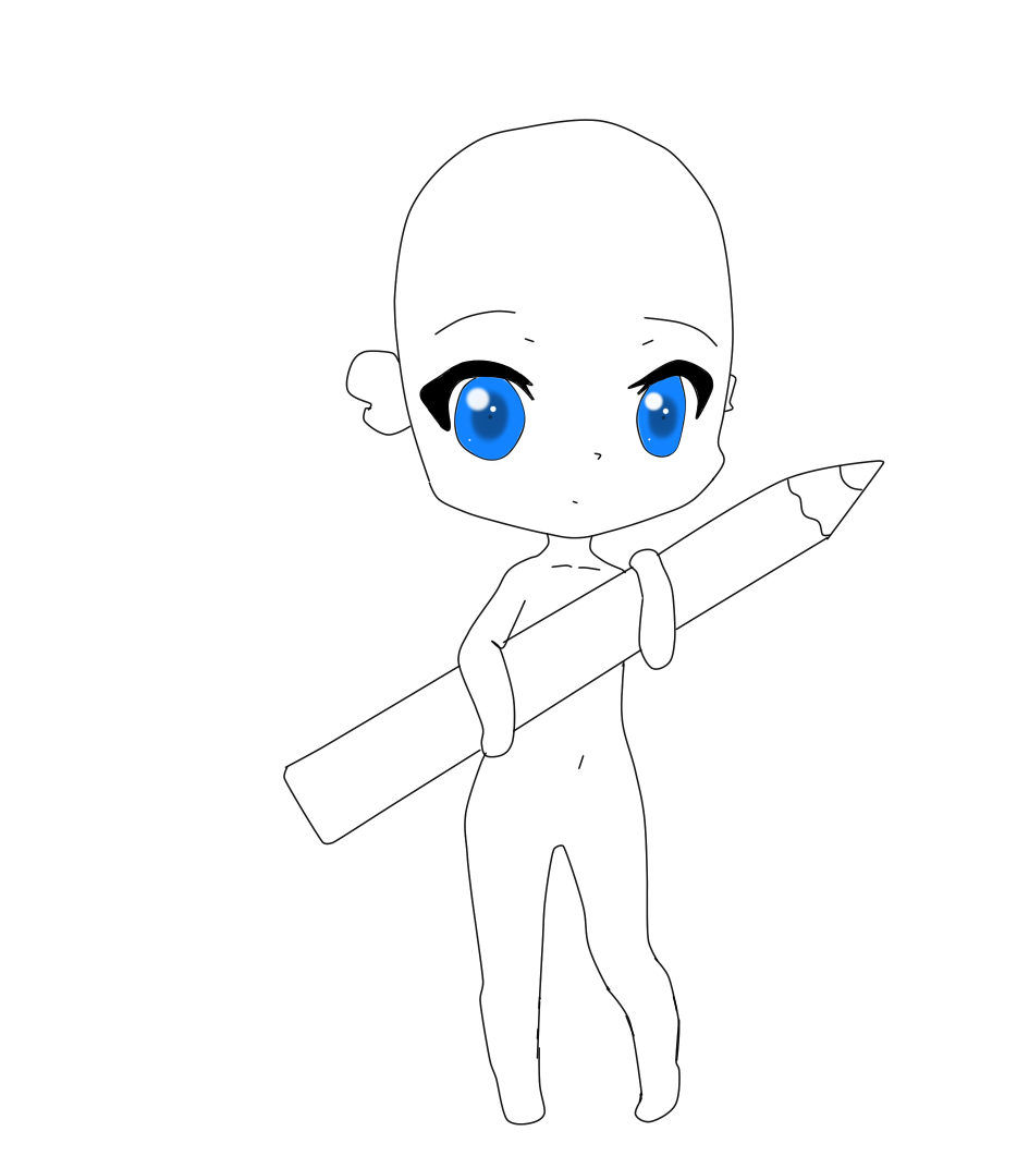 Pencil chibi girl base by tooy chicaa by tooychicaa
