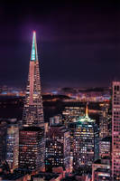 Transamerica at Night with Skyline by AugenStudios