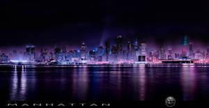 Panoramic Manhattan with Nightfall by AugenStudios