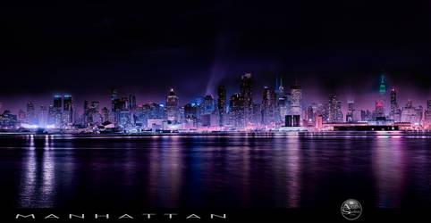 Panoramic Manhattan with Nightfall
