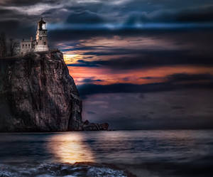 Split Rock Lighthouse with Full Moon Rising