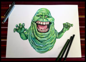Slimer -Ghostbuster (speed painting - pancil)   Al