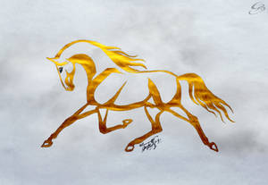 Gold horse by GeorgeXVII