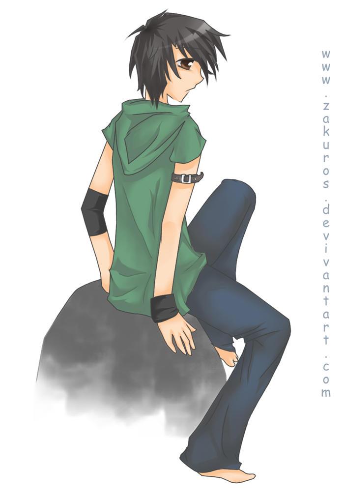 Boy sitting on rock by zakuros