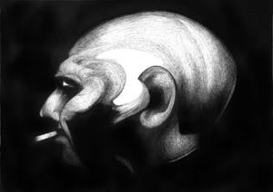 Profile with cigarette