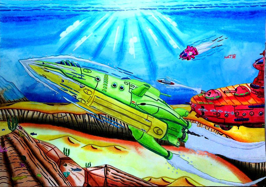 Undersea submarine chase war by Chen-Bo-Quan