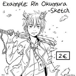 Rin Okumura- Example of Sketch Comission