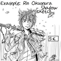 Rin Okumura- Example of Shadow Sketch Comission