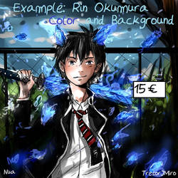 Rin Okumura- Example  Color+Background Comission