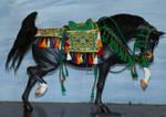 Green arab saddle set