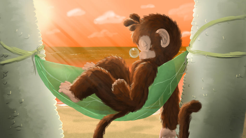 Moon Monkey Afternoon Snooze by TheMoonMonkey