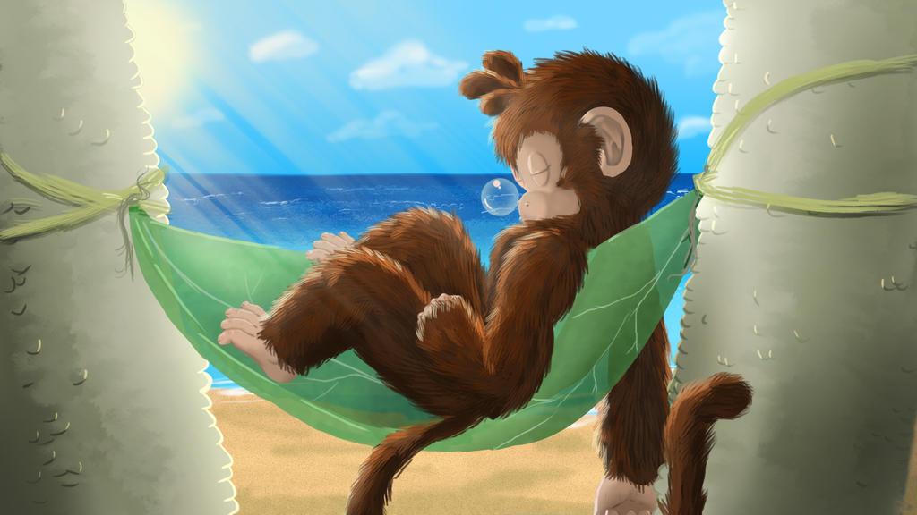 Moon Monkey Sleep by TheMoonMonkey