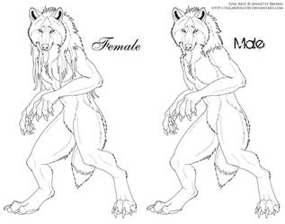 Male and Female Werewolf Lineart version 2 by sugarpoultry-archive