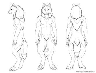 Free Male Werewolf Turnaround Lineart by sugarpoultry-archive