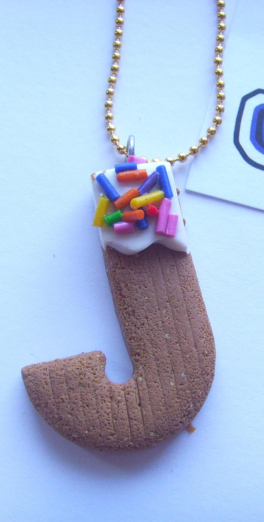 J Cupcake Letter Necklace by tyney123