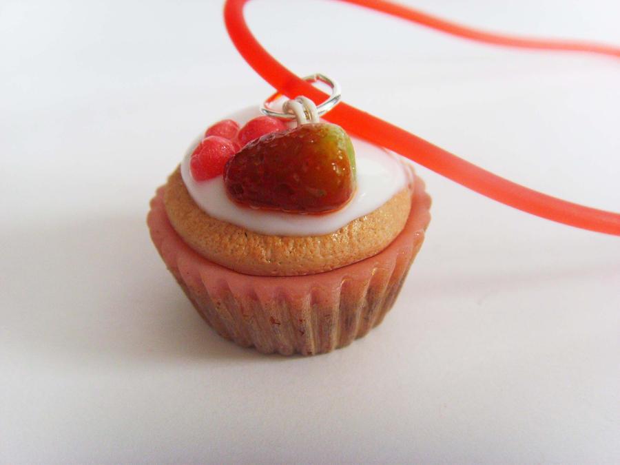 Strawberry Cupcake Necklace by tyney123