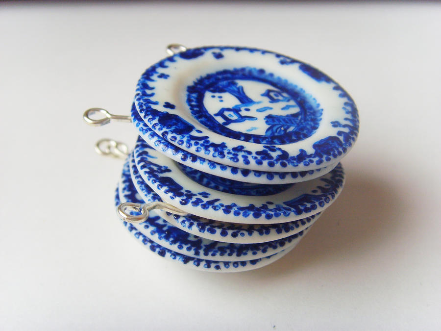 Blue 'n White Polymer Clay China Plates - Stacked