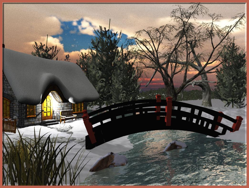 Winter Cabin by BrokenWings3D
