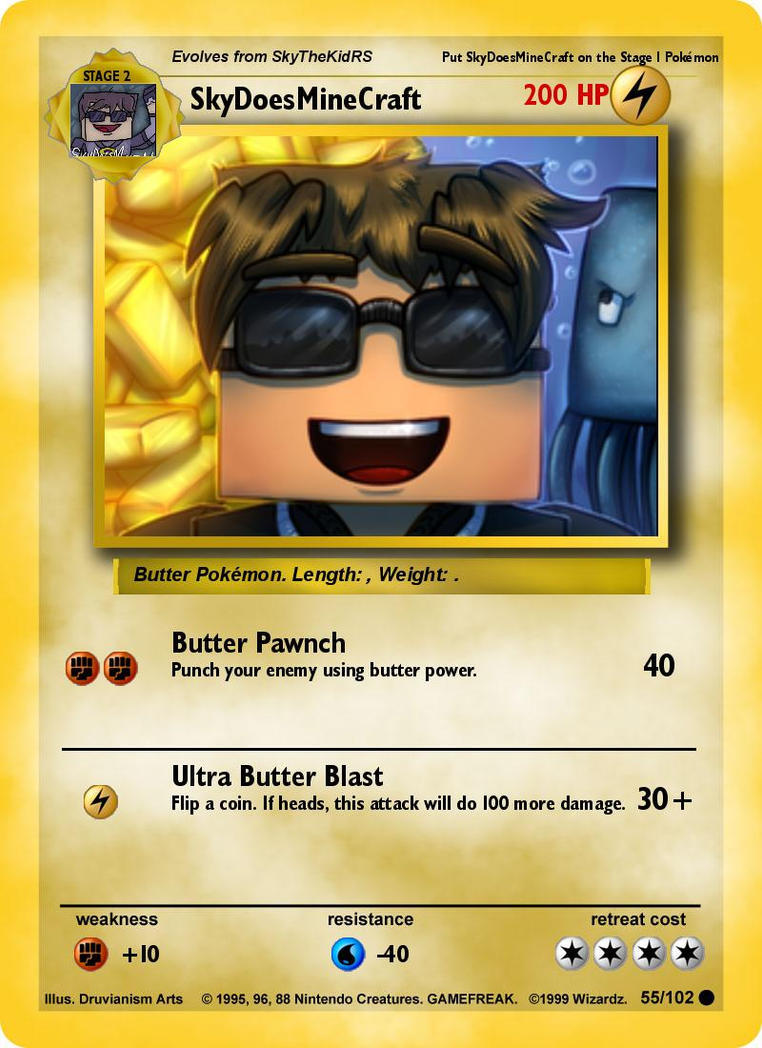Sky Does Minecraft Pokemon Card By Iceforce2002