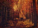 Forest Cottage- Premade Background