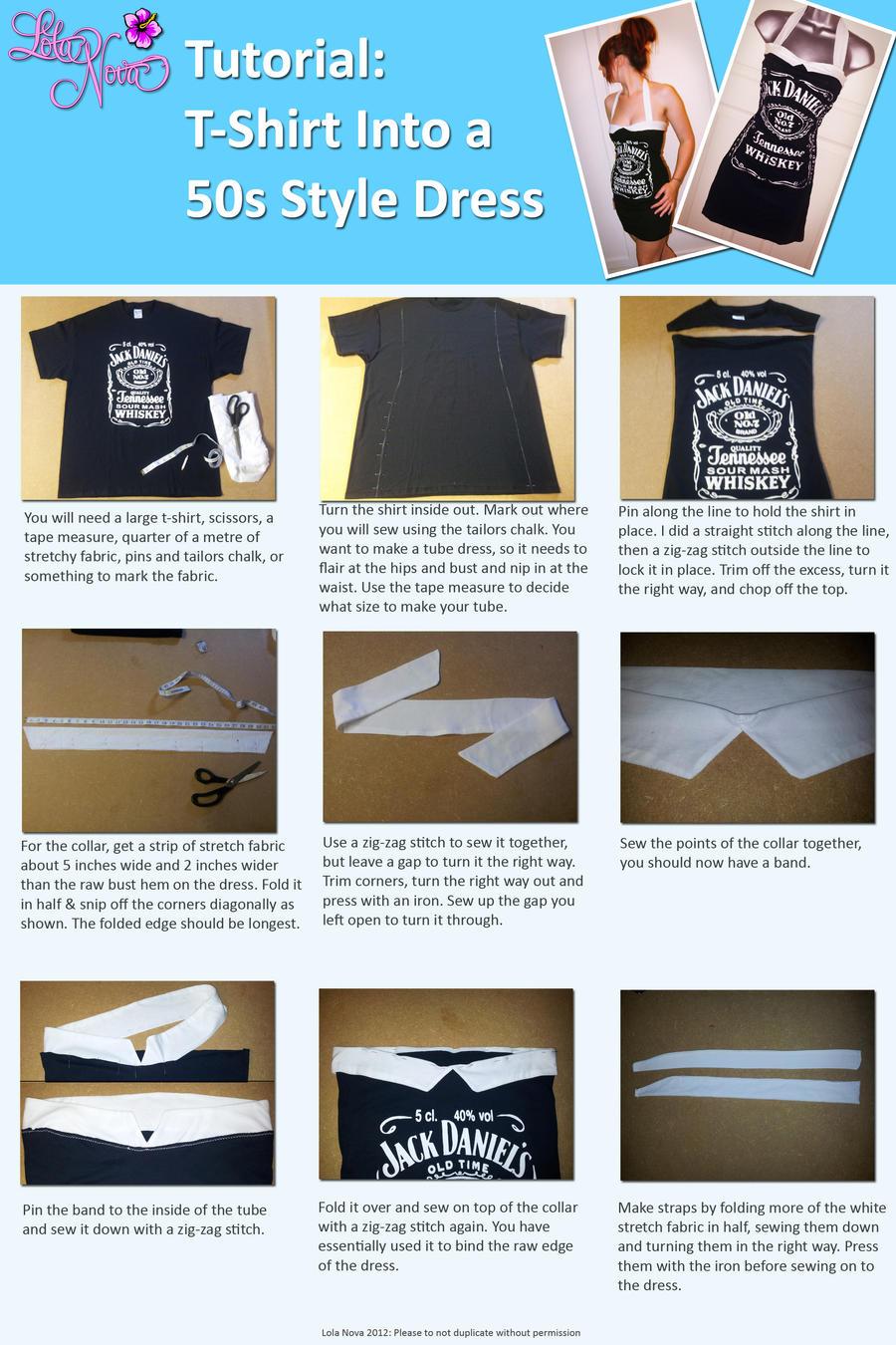 T Shirt into 50s Dress Upcycle DIY Tutorial by Lolanova