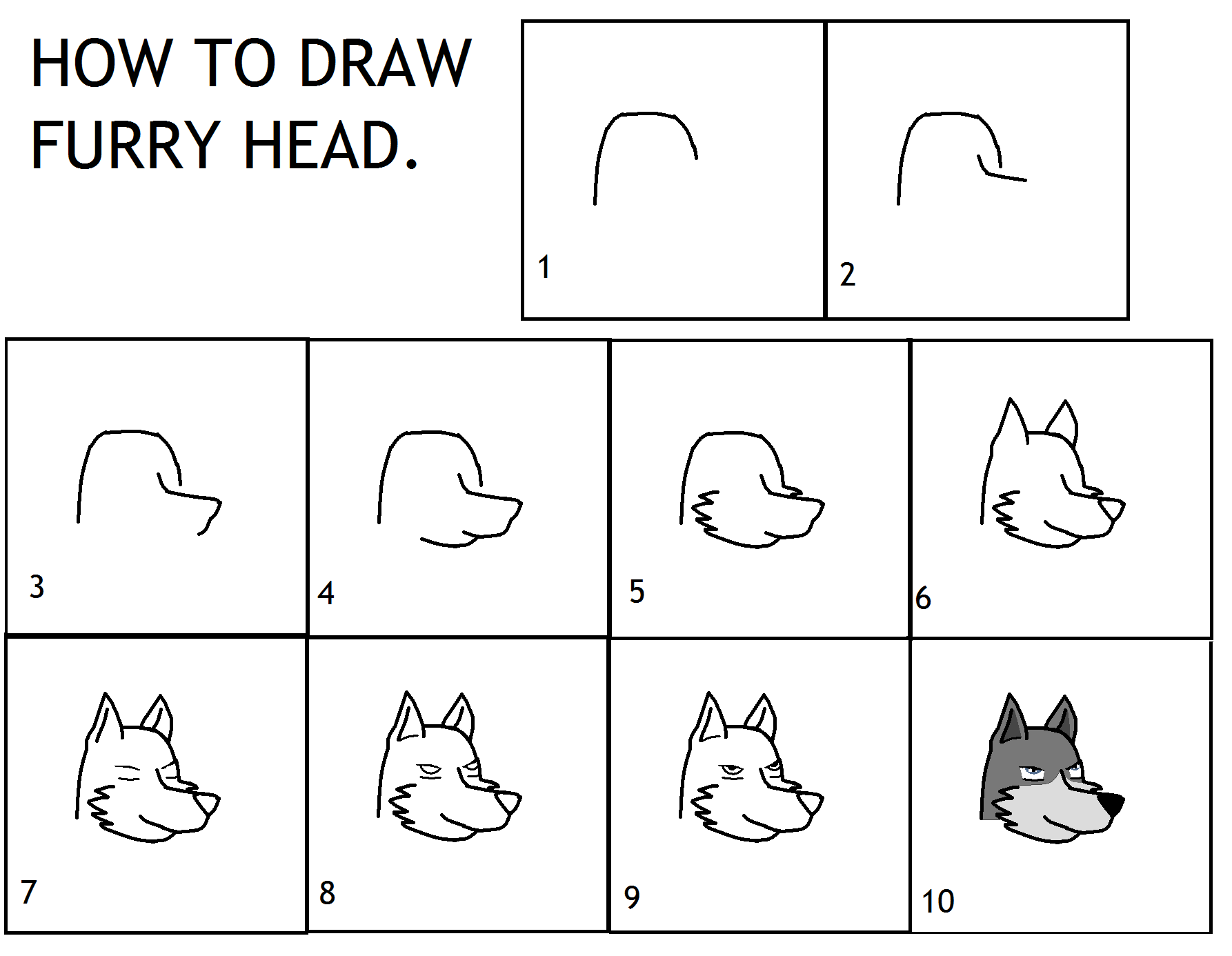 How To Draw A Furry Wolf Head
