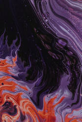 Purple, Black, And Orange Abstract Painting