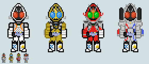 Chibi Rider sprite - Fourze (Main forms) by Malunis