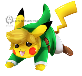 Link Pikachu T-Shirt design by LockStockCreation