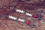 Snake bone wooden beads earrings