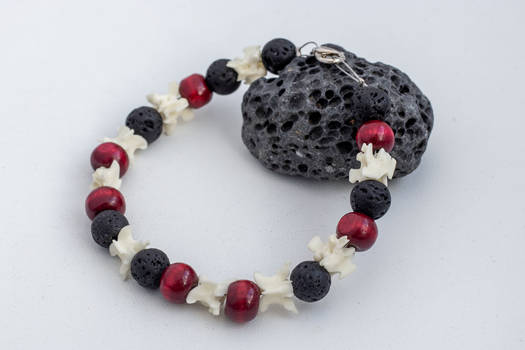Snake bones and lava stone bracelet