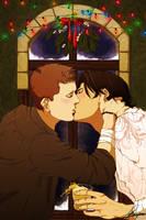 SPN+There's a mistletoe, Dean by Leyla-Lovely