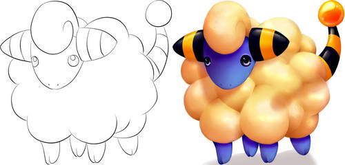 Colored Mareep - Before And After