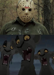 Lionesses screaming at Jason Voorhees